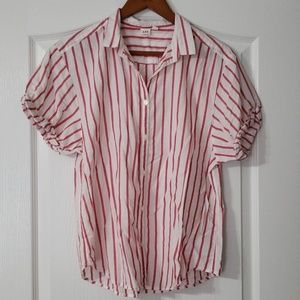 GAP Women's Striped Button Down Cuffed Shirt
